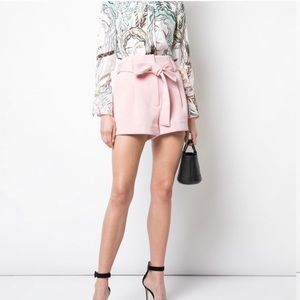 3.1 Phillip Lim High Waist Bow Belted Shorts Pink